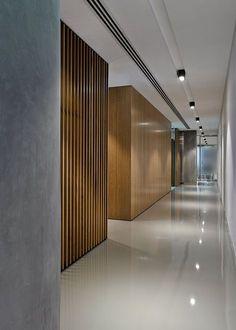 Corredor interior. Cuidar diseño falso techo e iluminación. Poner color en paredes. Elección de pavimento claro.