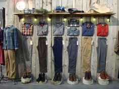 "HORNY TOAD CLOTHING, Santa Barbara,CA,""This is a great way to show outfits when your mannequins are out of town on a well deserved holiday"", pinned by Ton van der Veer"