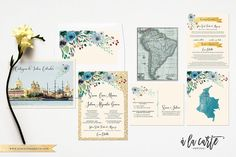 Cartagena Colombia South America Bilingual Illustrated Watercolor Destination wedding invitation set