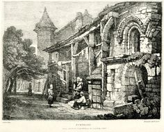 Jumielles - View of a row of buildings, two at right with arched windows, and a staircase with wooden ballustrade at centre left; a group of figures seated and standing in foreground at centre, a woman seen on top of the staircase, and a man walking in background under trees, near a building with a square tower. 1 March 1821 Lithograph