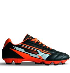 Ichnos Downforce FG Firm Ground football boots black orange – ICHNOS SPORTS Football Boots, Black Boots, Studs, Front Lace, Black And White, Orange, Colour Black, Classic, Grass
