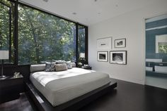 Modern Home in New Canaan Connecticut - Home Design and Home Interior Modern Master Bedroom, Modern Bedroom Decor, Master Bedroom Design, Contemporary Bedroom, Home Bedroom, Bedroom Furniture, Bedroom Designs, Forest Bedroom, Bedroom Ideas