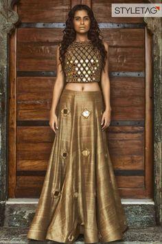 beautiful golden lehenga https://www.facebook.com/nikhaarfashions