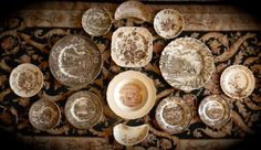 Set of 14 Different Vintage Brown Toile Transferware Plates Dishes Instant Wall Display or Collection
