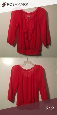 Red sheer Hollister shirt. Perfect for the holidays! In very good condition:) Hollister Tops Blouses