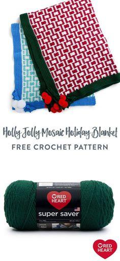 Free Holly Jolly Mosaic Crochet Holiday Blanket pattern using Red Heart Super Saver yarn. #Yarnspirations #FreeCrochetPattern #Mosaic #HolidayBlanket #CrochetThrow #CrochetAfghan #CrochetBlanket #RedHeartYarn #RedHeartSuperSaver Super Saver, Red Heart Yarn, Free Crochet, Christmas Time, Holiday, Free Pattern, Mosaic, Crochet Patterns, Soft Blankets