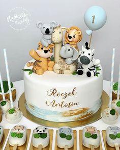 Animal Birthday Cakes, Baby Boy 1st Birthday Party, Baby Birthday Cakes, Celebration Cakes, Baby Shower Cakes, Themed Cakes, Baby First Cake, Food, Birthday Cake For Baby