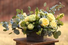 wood boxes floral centrepiece yellow blue - Google Search