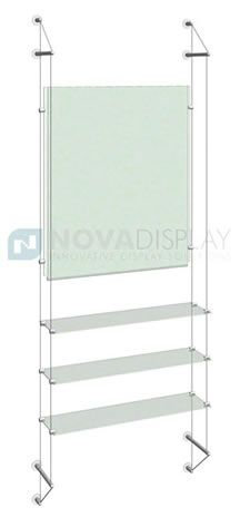 Cable/Rod Suspended Glass Shelving Kits – an elegant and practical display equipment for displaying literature, product glass shelving, product showcases, collectibles and other specialty products.