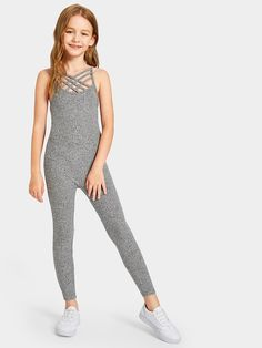 Product name: Girls Caged Neck Marled Knit Skinny Jumpsuit at SHEIN, Category: Girls Jumpsuits Preteen Girls Fashion, Teenage Girl Outfits, Kids Outfits Girls, Girls Fashion Clothes, Cute Outfits For Kids, Teen Fashion Outfits, Pretty Outfits, Mädchen In Leggings, Little Girl Leggings
