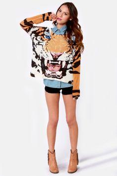 Mink Pink Roar Sweater - Oversized Sweater - Tiger Print Sweater - $78.00