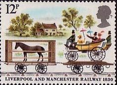 150th Anniversary of Liverpool and Manchester Railway 12p Stamp (1980) Horsebox and Carriage Truck near Bridgewater Canal