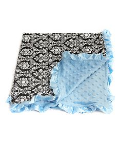Another great find on #zulily! Blue & Black Fleur-de-Lis Baby Minky Snuggle Blanket #zulilyfinds