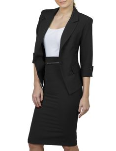 Womens Fitted Blazer and Skirt Suit Set with Faux Leather Belt