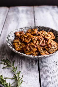 Sweet and Spicy Rosemary Cheddar + Gorgonzola Pumpkin Crackers   halfbakedharvest.com @hbharvest