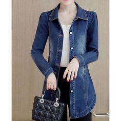 Feminino Jaqueta jeans Casual Simples Outono Inverno,Sólido Longo Poliéster Colarinho de Camisa Manga Comprida de 2017 por R$76.51