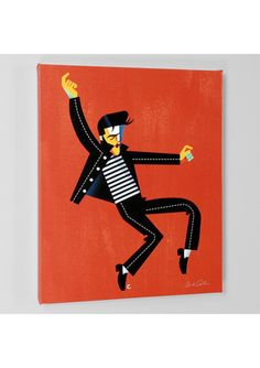 DAVID COWLES Limited Edition ''Elvis Orange'' Giclee on Stretched Canvas
