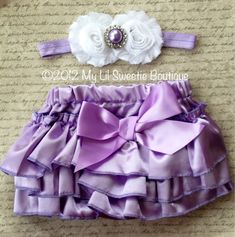 Light purple Satin Bloomer Set- Headband and Bloomers- Newborn Outfit - Baby Girl Outfit - Toddler- Photo Prop- Valentines Outfit. $26.95, via Etsy.
