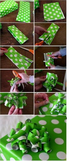 2014 holiday gift white polka dots diy green wrapping paper tutorial - flowers, wrapping paper crafts