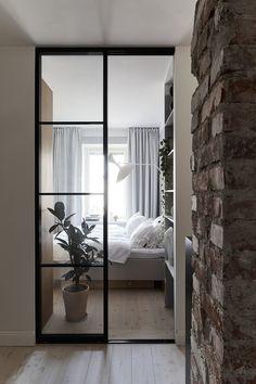Sisustussuunnittelijan ensimmäisessä omassa kodissa unelmat toteutuivat ja kalusteetkin suunniteltiin itse | Gloria One Bed, Modern Lighting, Showroom, Divider, House Design, Mirror, Inspiration, Furniture, Bedrooms