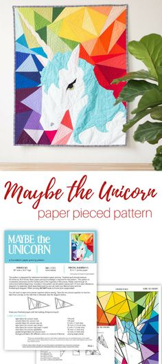 """Love the fresh look of this geometric unicorn quilt pattern. Design is paper pieced, measures 30"""" x 36.5"""" finished and is stunning! affiliate"""