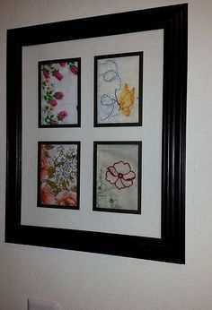 framed old hankies, repurposing upcycling, wall decor