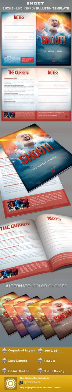 The Shout Church Bulletin Template is great for any Church Event, use it for Sermons, Pageants and Musicals, etc. The layered Photoshop files are color coded and organized in folders for easy editing. The file also contains 6 – One Click Color options. - $7.00