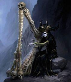Dark Lady Playing Skull Harp.. Beautiful!!!