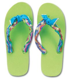0a688621a Ribbon and Bead Flip Flops - Ribbon and Bead Flip Flops Striped Flip Flops
