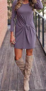 Purple Full Sleeve Knot Casual Dress