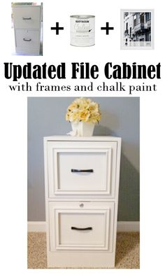 Updated File Cabinet. Glue frames to a file cabinet and paint it with chalk paint. It would look beautiful with a wooden top!
