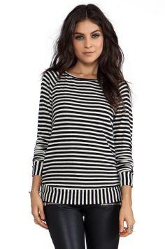 WOODLEIGH Ramona Top in Black/White Stripe