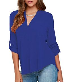 NEW LOSRLY Women's Loose Solid Chiffon Blouses V Neck Cuffed Sleeve Shirts Tops