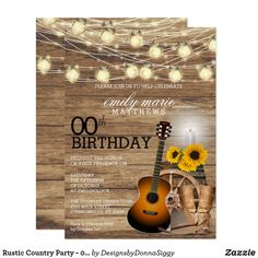 Shop Rustic Country Party - Birthday Invitation created by DesignsbyDonnaSiggy. Cowboy Invitations, Zazzle Invitations, Birthday Invitations, Music Theme Birthday, Birthday Party Themes, Sweet 16 Decorations, Country Party Decorations, Happy Birthday Sunflower, Country Birthday
