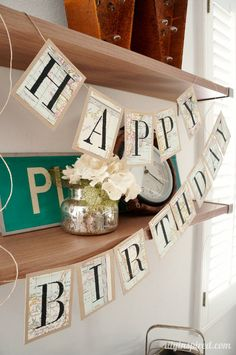 Stenciled Recycled Map DIY Birthday Banner