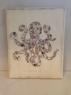 Octopus Art, Seashell Octopus , Octopus, Sealife, Coastal Decor, Beach Decor, seashell decor