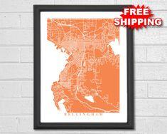 Bellingham Map Art  Map Print  Washington  Hometown