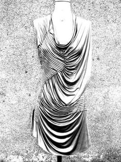 Fabric Manipulation - dress detail with textural patterns using pintuck pleats & drape; sewing // Susan Waller