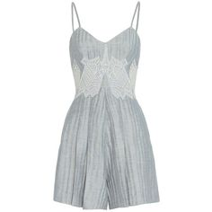 Jonathan Simkhai EXCLUSIVE Lattice Pleated Romper at INTERMIX | Shop... ($595) ❤ liked on Polyvore featuring jumpsuits, rompers, boho dresses, mixed print dress, pattern dress, bohemian print dress and bohemian dress