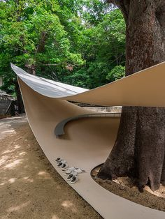 Fukita Pavilion by Ryue Nishizawa A graceful place for restoration extends between tree trunks. Pavilion Architecture, Japanese Architecture, Futuristic Architecture, Architecture Details, Interior Architecture, Sustainable Architecture, Residential Architecture, Contemporary Architecture, Interior Design