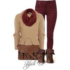 I love the wine color pants! It steps up the entire look. At Stylish Eve. Fall Fashion Outfits, Fall Winter Outfits, Look Fashion, Autumn Winter Fashion, Trendy Outfits, Cute Outfits, Womens Fashion, Petite Fashion, Jean Outfits