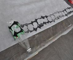Make a roller stamp: sticky foam on a seltzer bottle-see post for more ideas