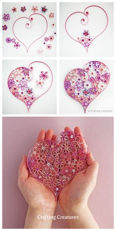 Pretty paper heart using quilling techniques.Filigree art of origami, decorative better life. Usually the rest of the material can be made into beautiful origami decoration pretty - quilled heart and flowers. papercraft quilling - DIY Home Project Pa Origami And Quilling, Quilled Paper Art, Paper Quilling Designs, Quilling Paper Craft, Quilling Patterns, Quilling 3d, Origami Paper, Diy Paper, Paper Crafting