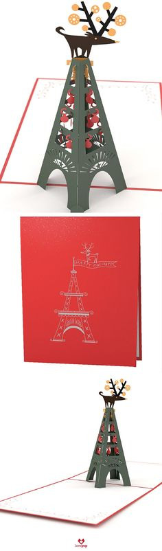 This festive reindeer is perched atop the Eiffel Tower. Gift something different this year with paper art pop up Christmas Card. #HappyHolidays