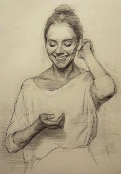 Giles Lester, smiling beautiful female torso drawing. <3 gileslester.com
