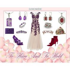 """""""Diamondere: Choices! Choices! Choices!"""" by artist4god-rose-santuci-sofranko on Polyvore...@diamondere jewelry pieces in Amethyst, Ruby, Garnet, and Diamond. What will YOU choose for your big day?  #diamondere #ruby #garnet #Amethyst #diamond #heels #shoes #clutches #purses #Wedding #WeddingGown #BridalGown #boots #bootie #rings #earrings #necklaces #pendants #pink #purple #burgandy #tiaras #RoseSantuciSofranko #Artist4God"""