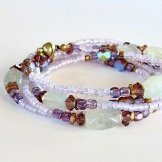 Wrap Bracelet-A gentle mix of purple in green. Custom order $45 Sold- others available. https://earthandmoondesign.com/shop/bracelets/pastel-34-inch-semi-precious-stone-wrap-bracelet/