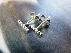 Silver line stud earrings beaded wire earrings modern by Mirma