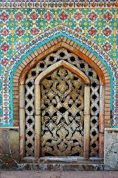 Alabaster work set in porcelain tiling at Golestan Palace - Iran, Teheran.