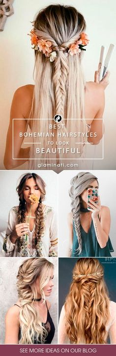 Bohemian hairstyles are worth mastering because they are creative, pretty and so wild. Plus, boho hairstyles do not require much time and effort to do. See more fabulous boho hairstyles.: